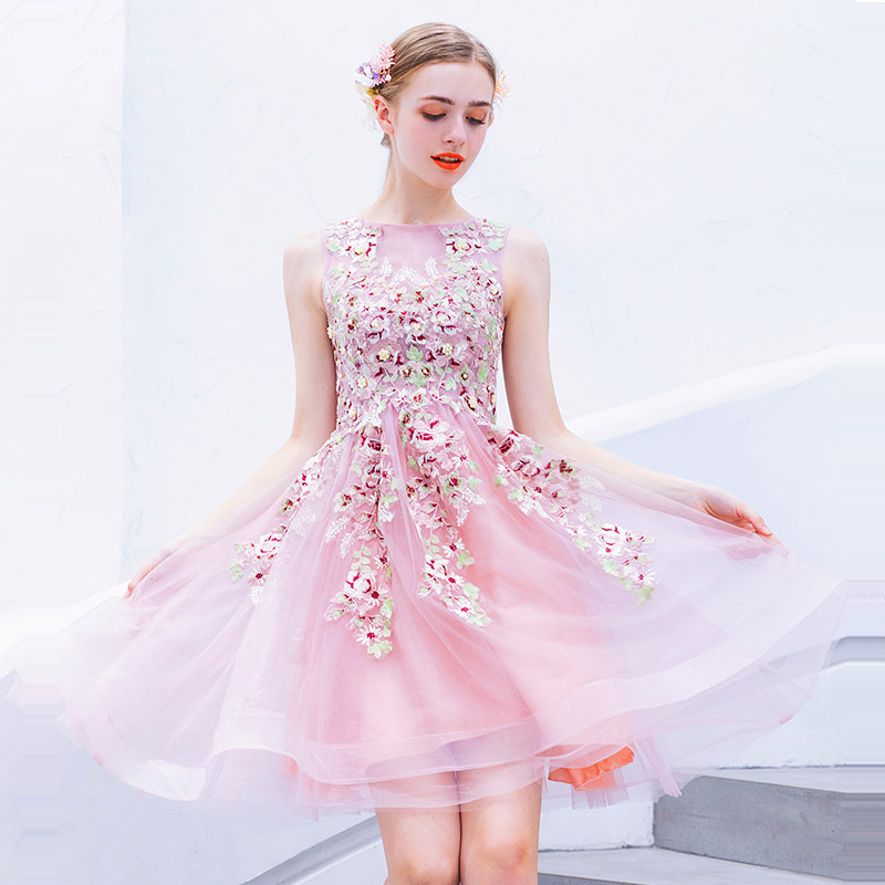Cocktail     Dress   Sexy Mini Lace Fan Collar   Cocktail     Dresses   2019 Sleeveless Party Woman Plus Size Embroidery Robe   Cocktail   E610