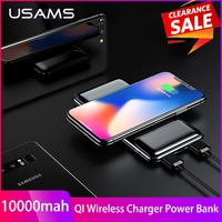 USAMS 10000mAh Qi Wireless Charger Power Bank For iPhone X XS 8 P Samsung S9 S8 Fast External Battery Charger Wireless Powerbank