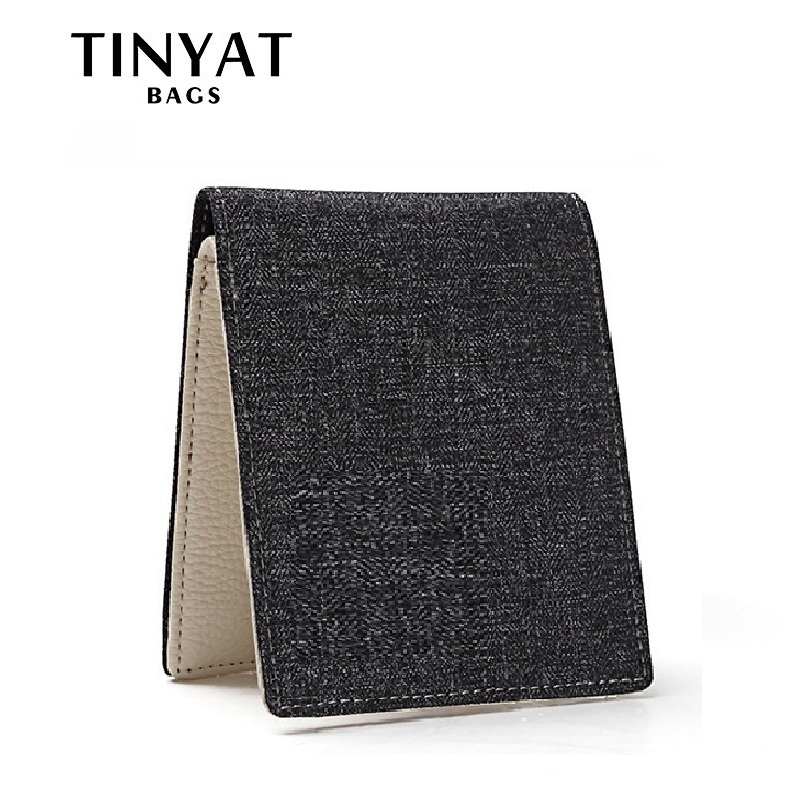TINYAT Fashion  Men Male Short Wallet Free Casual Money Purse For Men Card Photo Holder Pocket Portfel Carteira Masculina TW1