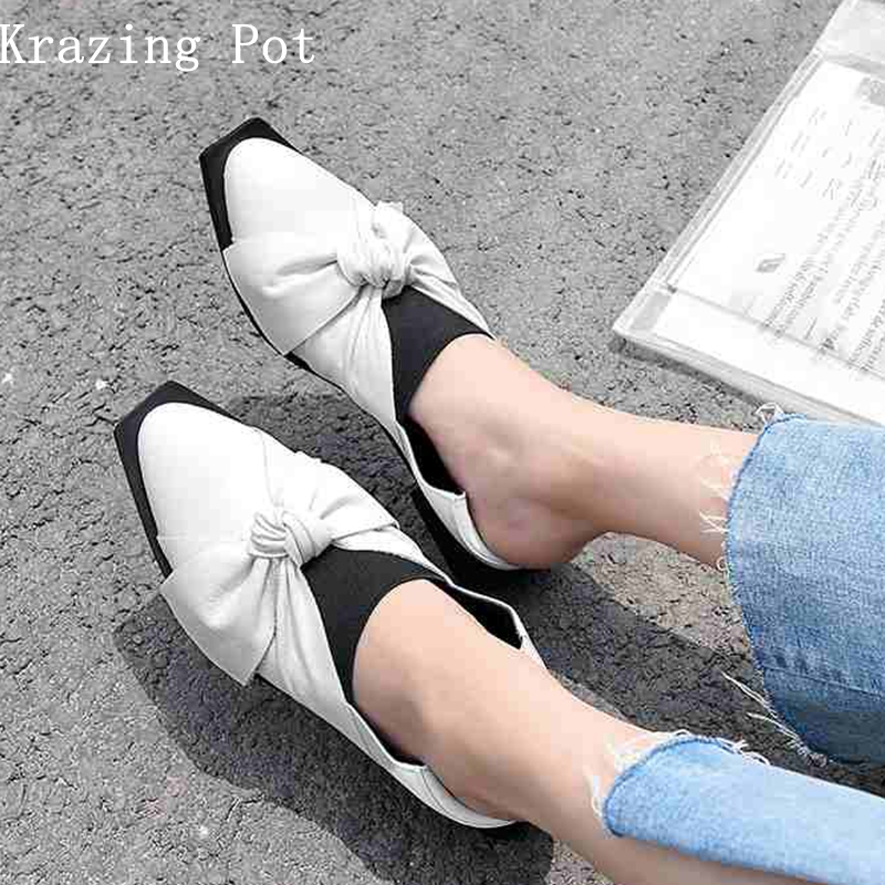 krazing pot new full grain leather vintage women brand shoes slip on plus size solid color women pumps butterfly-knot shoes L01 цены онлайн