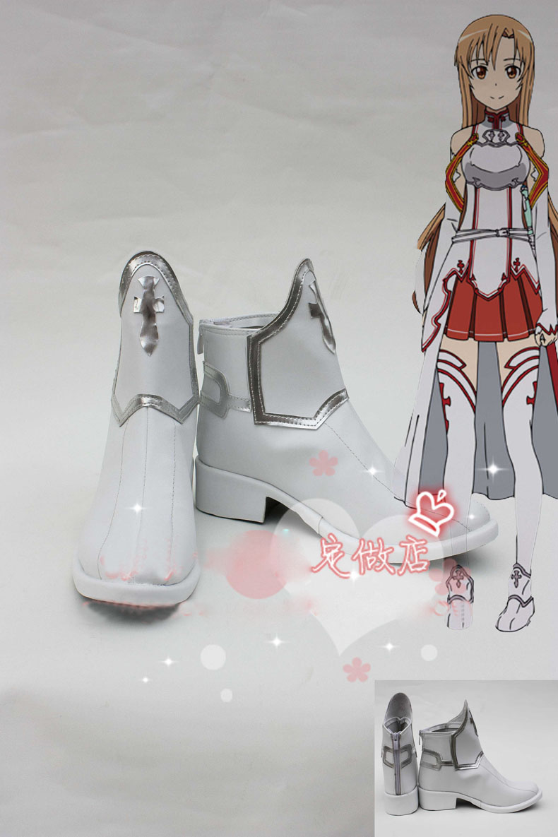Anime Sword Art Online Asuna Yuuki Cosplay Boots costume shoes Custom Made Halloween Free Shipping