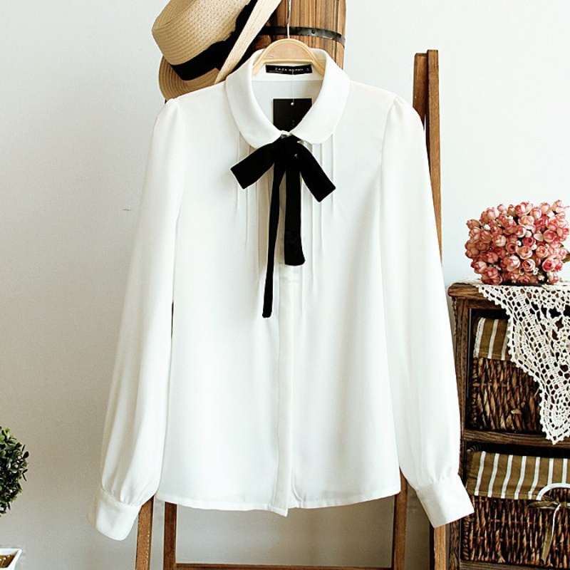 New Women Bow Tie Solid Blouses Chiffon Peter Pan Collar Casual Shirts Ladies Tops