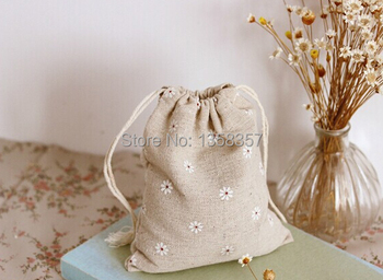 100pcs/lot wholesale jute/linen/flax drawstring gift bags for cosmetic/jade/earphone packaging,Size be customized,Various colors