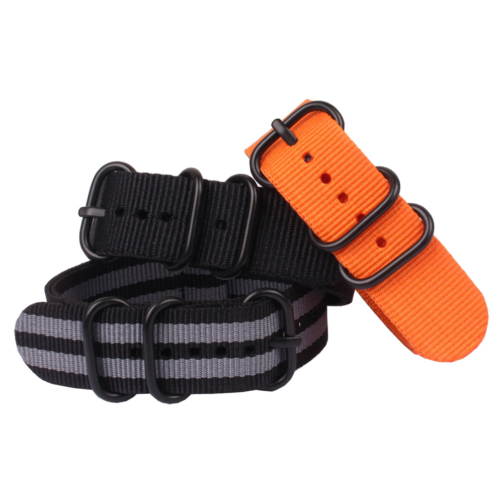 Buy 2 Get 10% OFF) Solid Black Buckle Rings 20mm Watchband Fiber Woven Nylon Watch Straps Wristwatch Bands 20 mm watches zulu taking your tennis on tour the business science and reality of going pro