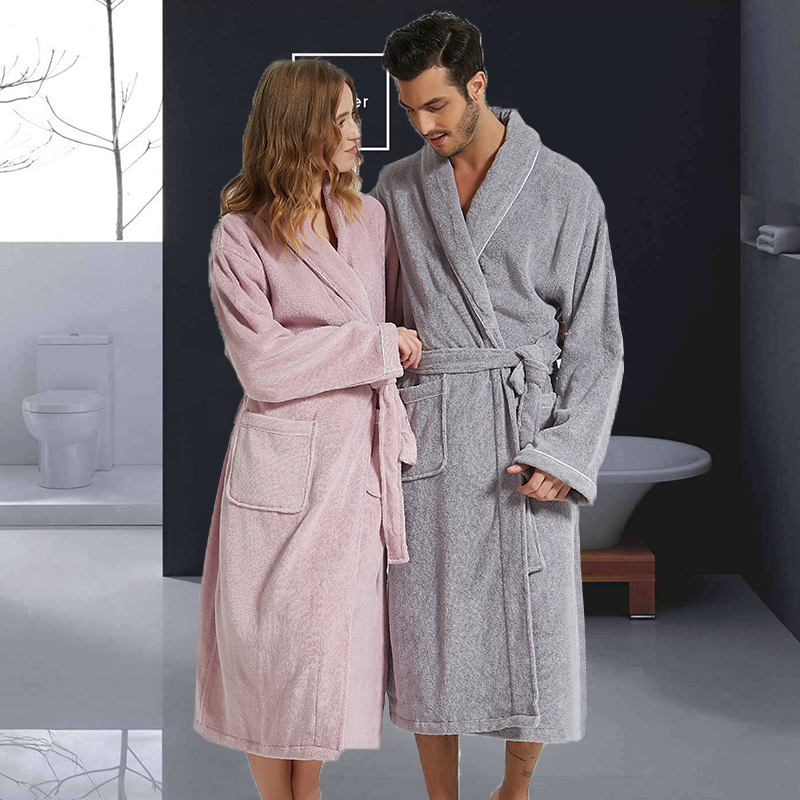 Women Bathrobe Long Cotton Warm Nightgown Female Towel Bathrobe Thickening Plus Size XXL Autumn Winter Pajamas