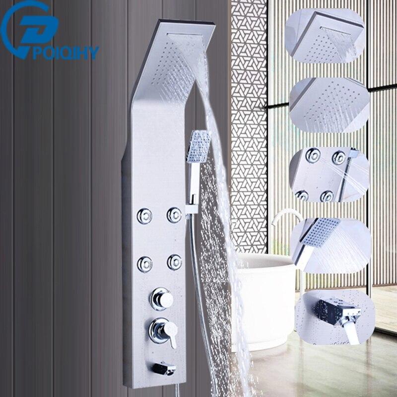 цена на Brushed Nickel Finish Waterfall Rainfall Shower Panel Massage Jets Column Hand Shower Tub Spout Shower Tower