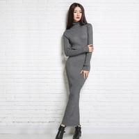 New Hot Autumn Winter Women S Wear High Neck Cashmere Knit Dress Fashion Lapel Wool Skirt