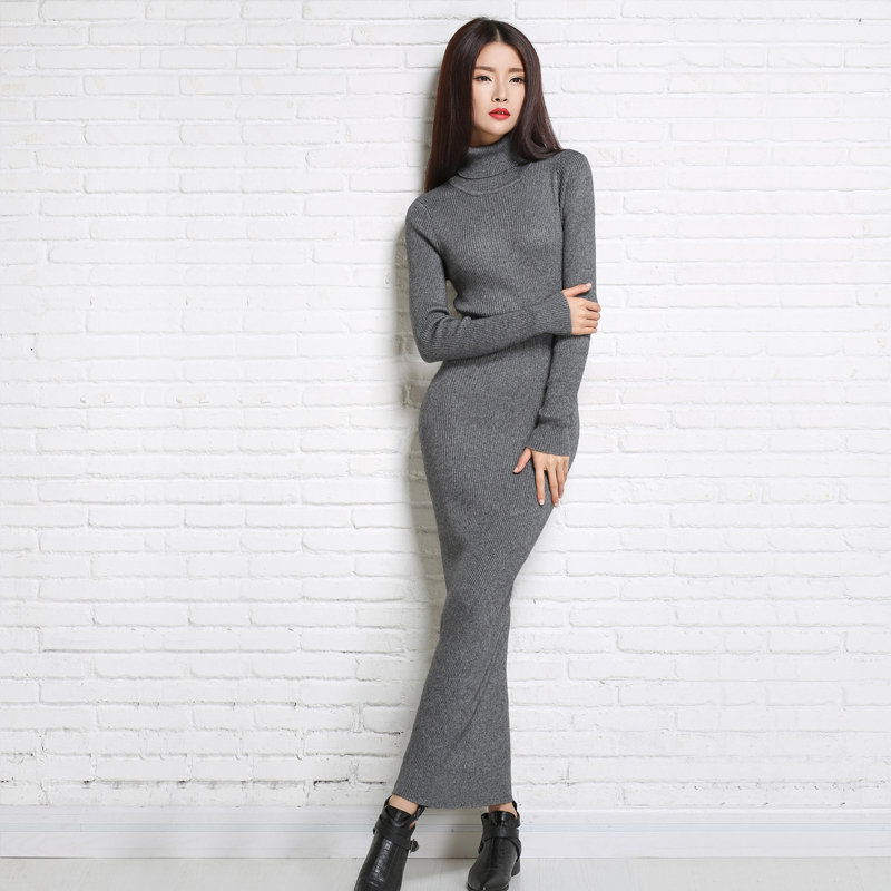 The new high quality lady autumn and winter clothes long style high neck ladies cashmere dress