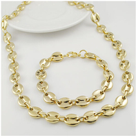 11mm Flat Bead Chain Necklace Set Gold Plated Stainless Steel Necklace Wholesale