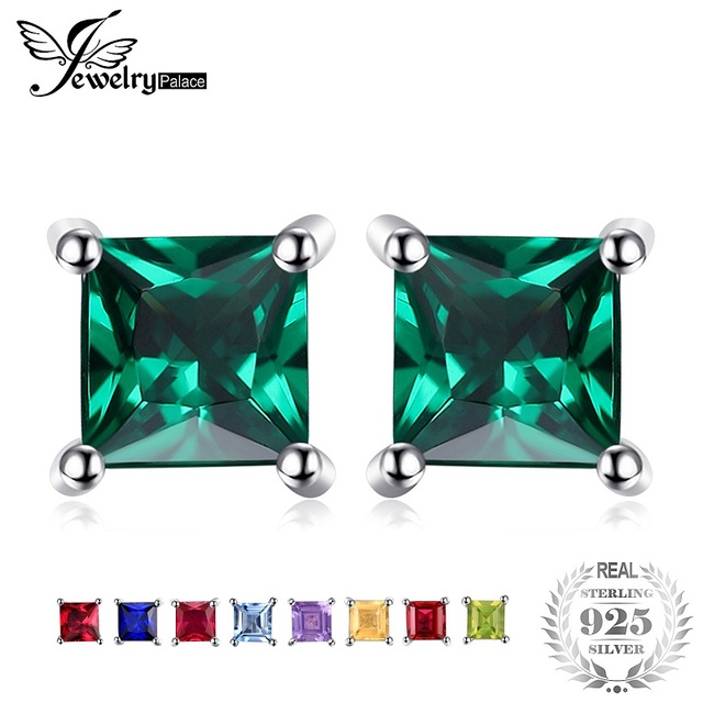 Jewelrypalace Square 0.6ct Created Emerald 925 Sterling Silver Stud Earrings Fas