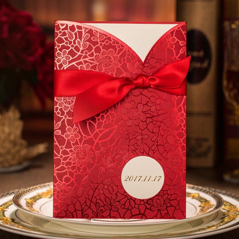 (100 stücke/los) personalisieren Druck Chinesische Rote Hochzeit Einladung Laser Cut Engagement Party Einladung Karten Mit Band XQ011-in Karten & Einladungen aus Heim und Garten bei  Gruppe 1