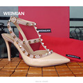 WEIMIAN Patent Leather Women Stud Sandals Slingback Pumps Two Ankle Buckles Ladies Sexy High Heels Neon Color Dress Shoes