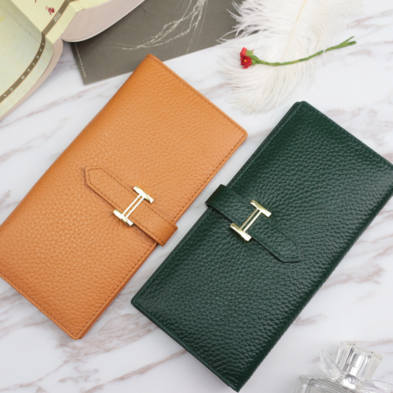 2019 New Arrival Genuine Cow Leather Long Wallet Women High Quality Ladies Fashion Metal Buckle Cowhide Wallet Purse
