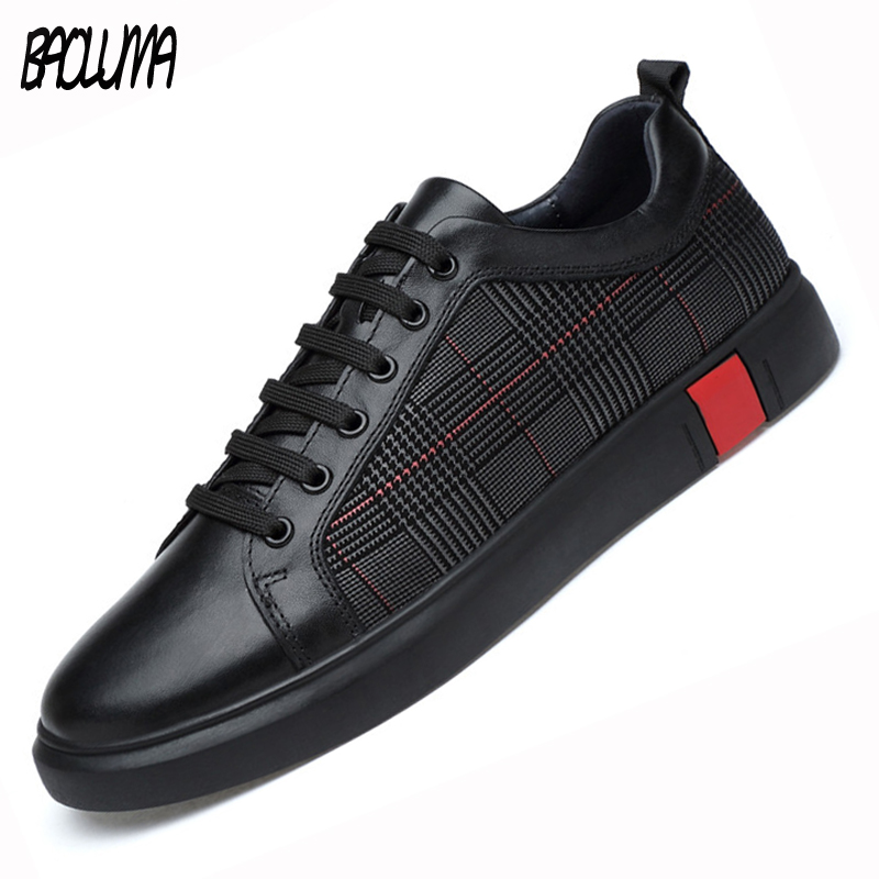 Men Leather Sneakers Genuine Leather Casual Shoes Men Lace Up New Fashion Sneakers Rubber Sole Non-slip Leather Flats Size 36-46 business men tie shallow mouth brown leather casual rivet shoes men s shoes round youth non slip rubber sole