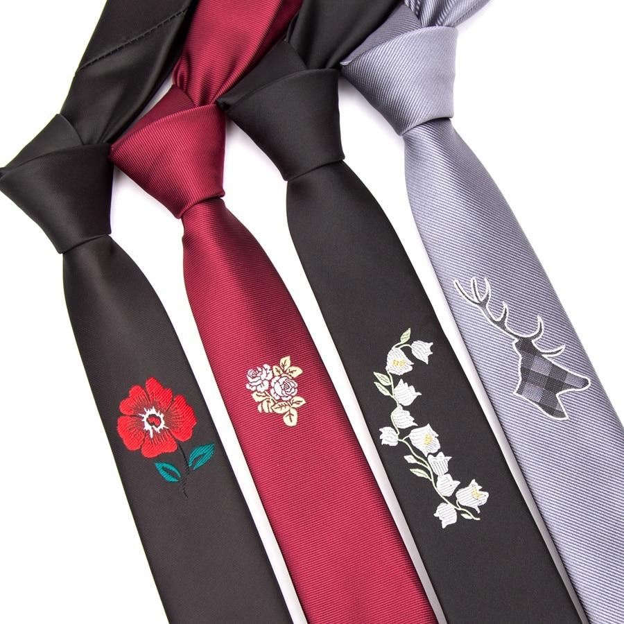 Men Tie Fashion Embroidered Flower Ties For Men Neck Tie 5cm Slim Corbatas Cravat Wedding Party Bowtie Male Dress Gift Necktie