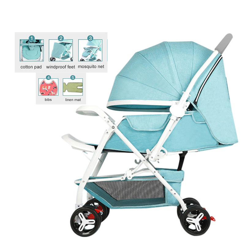 Bedora baby stroller can sit and lay ultra light portable folding stroller high landscape umbrella baby newborn child trolley