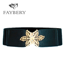 Fashion Golden Silvery Star Buckle Belts for Women Wide High Quality PU Leather Belt New Designer Elastic Waistband