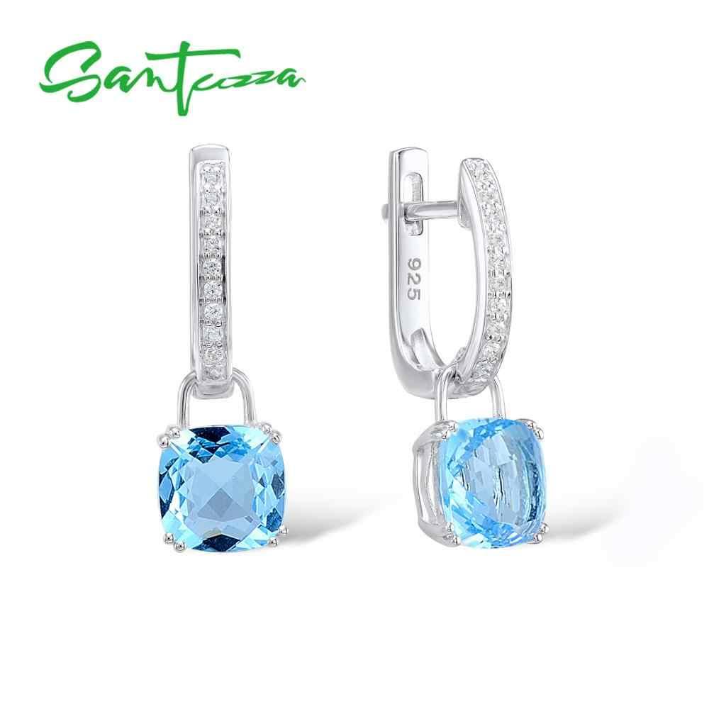 SANTUZZA Silber Ohrringe Für Frauen 925 Sterling Silber Baumeln Ohrringe серьги Sky Blau Zirkonia brincos Modeschmuck