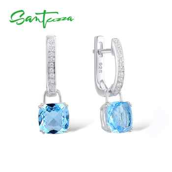 SANTUZZA Silver Earrings For Women 925 Sterling Silver Dangle Earrings серьги Sky Blue Cubic Zirconia brincos Fashion Jewelry - DISCOUNT ITEM  49% OFF All Category