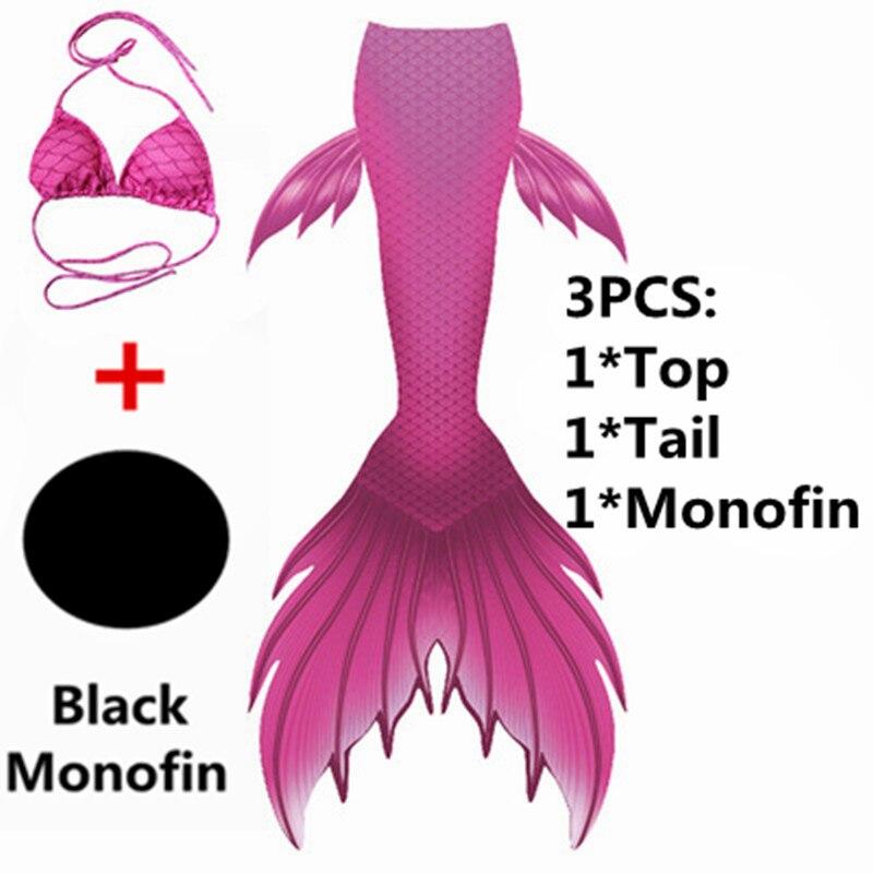 4pcs/set Mermaid Tails For Swimming Girls With Monofin Costumes Children Kids Tail Mermaid Halloween Cosplay Swimsuit Bikini Set Mother & Kids