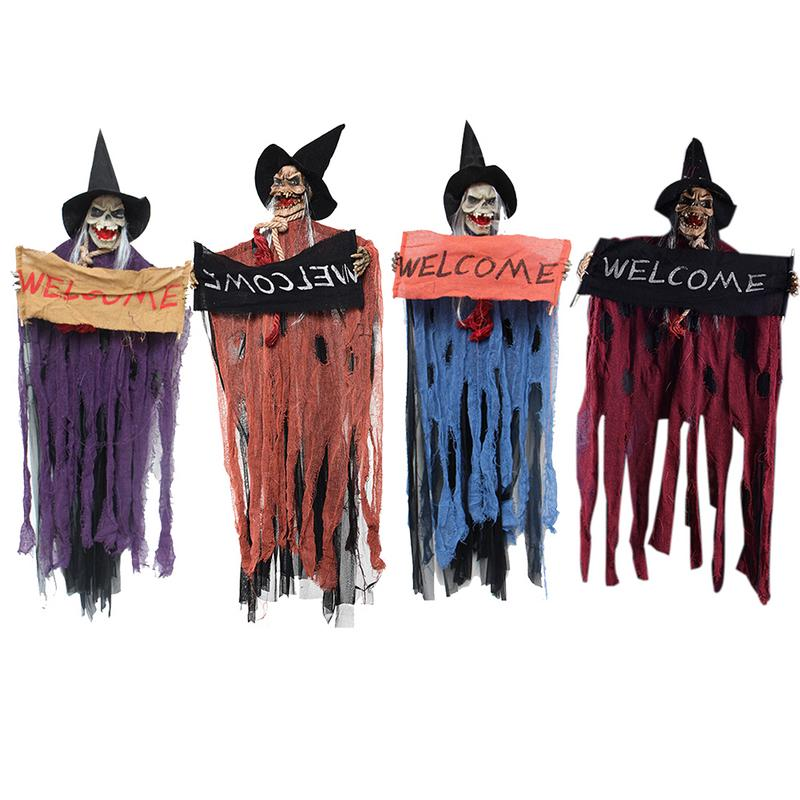 Halloween Hanging Ghost Shape Door Hanging Ghost Festival Electric Skull Resin Bar Haunted House Layout Lighting Ornament Prop