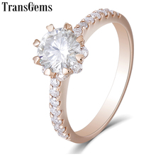 Transgems 14K 585 Rose Gold 1ct 6.5mm F Color Moissanite Halo Engagement Ring for Women Wedding Gift Ladies Elegant Ring цена в Москве и Питере