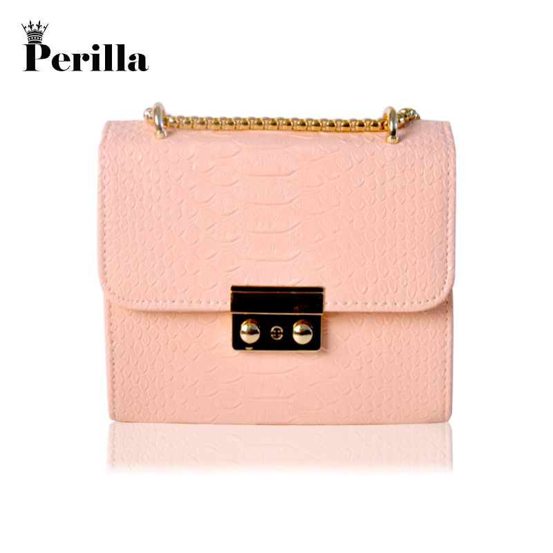 Perilla Women Crossbody Bag Alligator Leather Mini Small Alligator Crocodile Leather Bag Chain Women's Handbag Messenger Bags alligator crocodile leather mini women crossbody bags small women bag sling lady messenger shoulder bag purse lady handbag