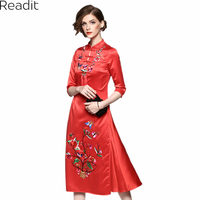 Readit Chinese Style Dress 2017 Autumn Floral Butterfly Pattern Embroidery Black Red Vintage Calf Length Dress