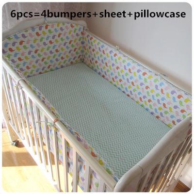 Promoção! 6 pcs conjuntos de cama berço do bebê berço bumper bumpers define lençóis recém-nascidos do bebê menina, incluem (amortecedores + folha + fronha)