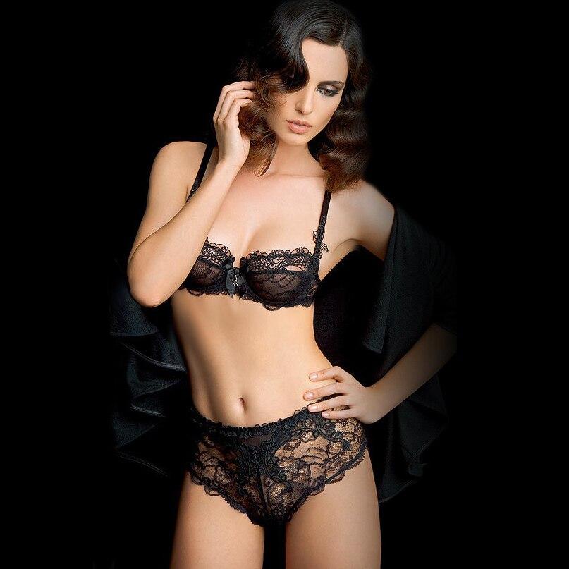 Brand Intimates Ultra Slim Lingerie Set Lace Bra Brief Sets Women Underwear Set Transparent Bra Set