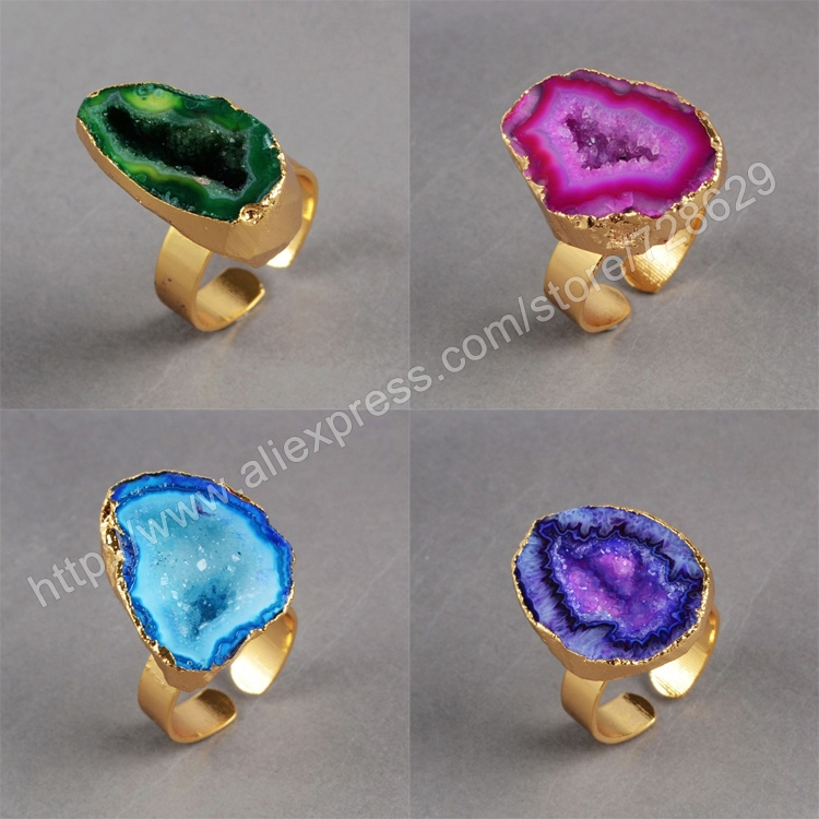 BOROSA 5Pcs/lot Fashion Natural Druzy Crystal Druzy Stone Gold Rings Gems Ring for Women/Men Jewelry G0140