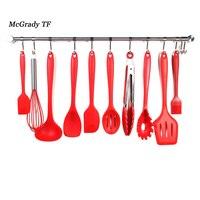 Mac 10Pcs Set Silicone Utensils 10 Piece Cooking Utensil Set Spatula Spoon Ladle Spaghetti Server Slotted