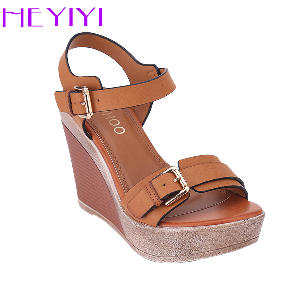 HEYIYI Women Shoes Sandals High Heel Wedges Platform Blue Camel Color Fashion Adjustable Buckle Strap Ladies