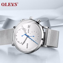 OLEVS fashion mens watches top brand luxury sport watch stainless steel silver watch mesh waterproof quartz wristwatch relogio