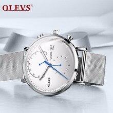 OLEVS, relojes de moda para hombre, marca superior, reloj deportivo de lujo, reloj de pulsera de acero inoxidable plateado, malla, resistente al agua, reloj de pulsera de cuarzo