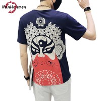 2017 Promotion Summer New Opera Masks T Shirts Men O-neck Short Sleeve Cotton Funny Chinese Clothing Male Print Tee Homme