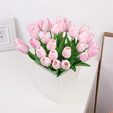 1 pc Fake PU Artificial Tulips Flowers Purple Pink Artificiales Bouquets For Home Party Wedding Decoration Silk Flower