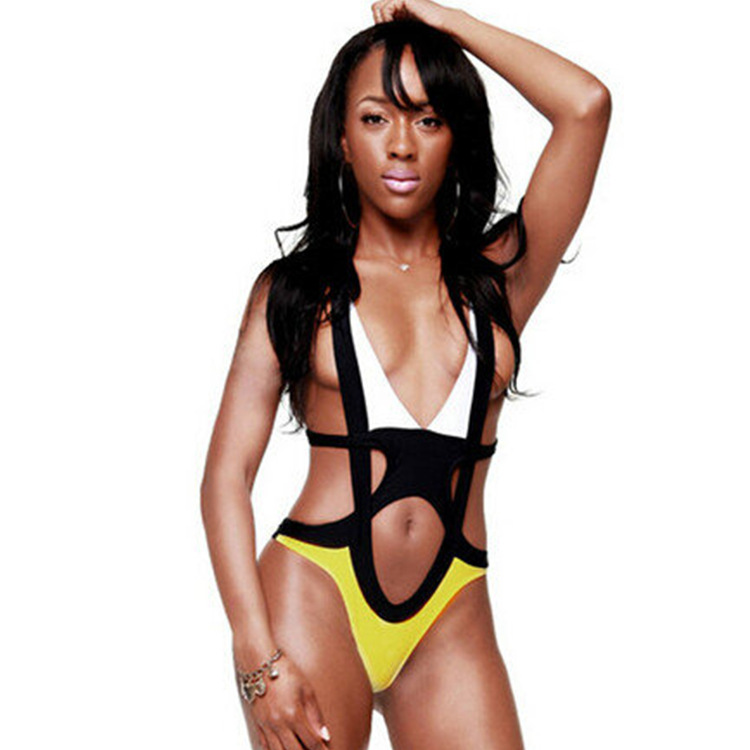 ed319be8625 Sexy cut out one piece patchwork yellow black white monokini plunging  swimsuits women bandage swim suit cross halter swim wear