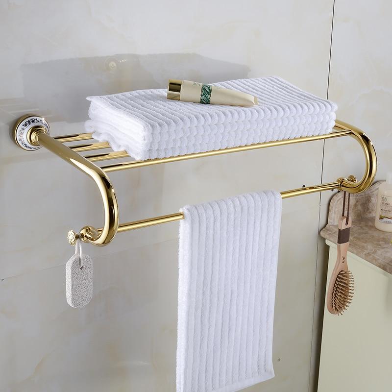 Towel Rack Bathroom Accessories Golden Metal Pendant Towel Rack 2018 New Arrival Prateleira Cabideiro double Towel Racks XE3391 sanitary ware ffcf6588 towel bar bathroom accessories metal pendant