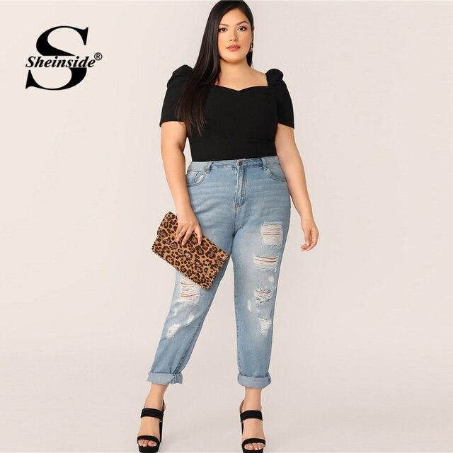 Sheinside Plus Size Casual Sweetheart Neck Blouse Women 2019 Summer Puff Sleeve Trim Blouses Ladies Black Minimalist Top 1