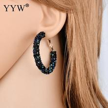 European And American Best-Selling Fashion Simple Personality Retro Exaggerated Earrings Large Circle Crystal
