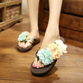 CBJSHO New Brand Fashion Flower Summer Sandals Women Wedges Flip Flops Platform Slippers Shoes Sandals Female Size 42