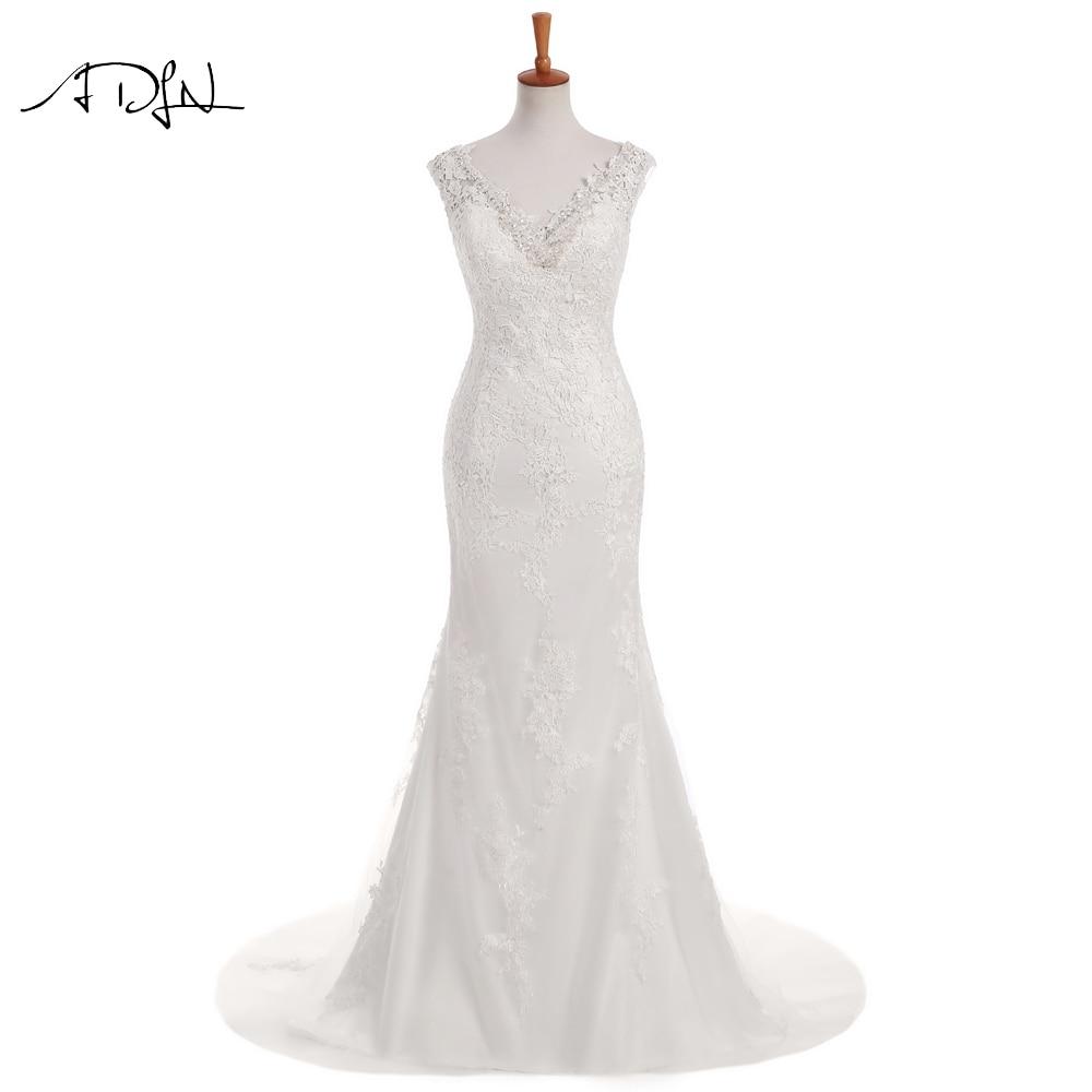 ADLN Mermaid Wedding Dress 2019 Manik halus Double V-leher Tinggi Kualiti Plus Saiz Lace Bridal Gown Customized