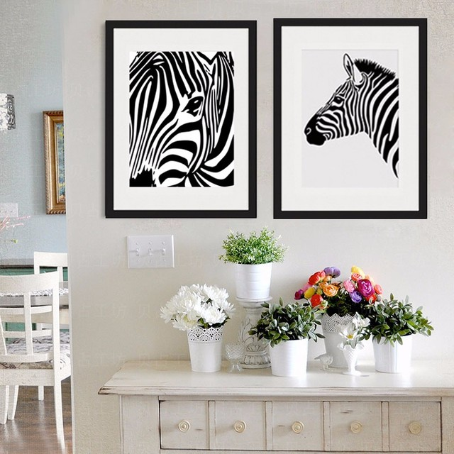 NEW Nordic Minimalist Black and White Zebra Canvas Painting Poster ...