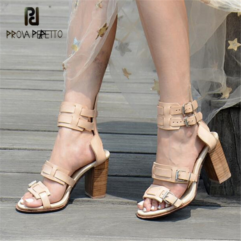 Prova Perfetto Summer Women High Heels Buckles Genuine Leather Ladies Shoes Gladiator Sandals Women Pumps Prom Dress Shoes WomanProva Perfetto Summer Women High Heels Buckles Genuine Leather Ladies Shoes Gladiator Sandals Women Pumps Prom Dress Shoes Woman
