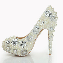 Hand-made Stiletto Heel Rhinestone Pearls High Heel Shoes Pearl Shoes Bridal Wedding Party Shoes Nightclub Bridal Pumps