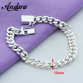 ANDARA Christmas Gift 10MM Men's Sideways Bracelet 925 Sterling Silver Fashion Jewelry For Male Bracelets Y013