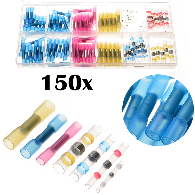 150PCS Heat Shrink Butt Terminals Crimp Wire Terminal Waterproof Splice Connectors Set Electrical Solder Sleeves AWG 22-10 Kit 100pcs waterproof heat shrink butt wire splice connector 26 10 awg solder sleeve electrical wire crimp connectors
