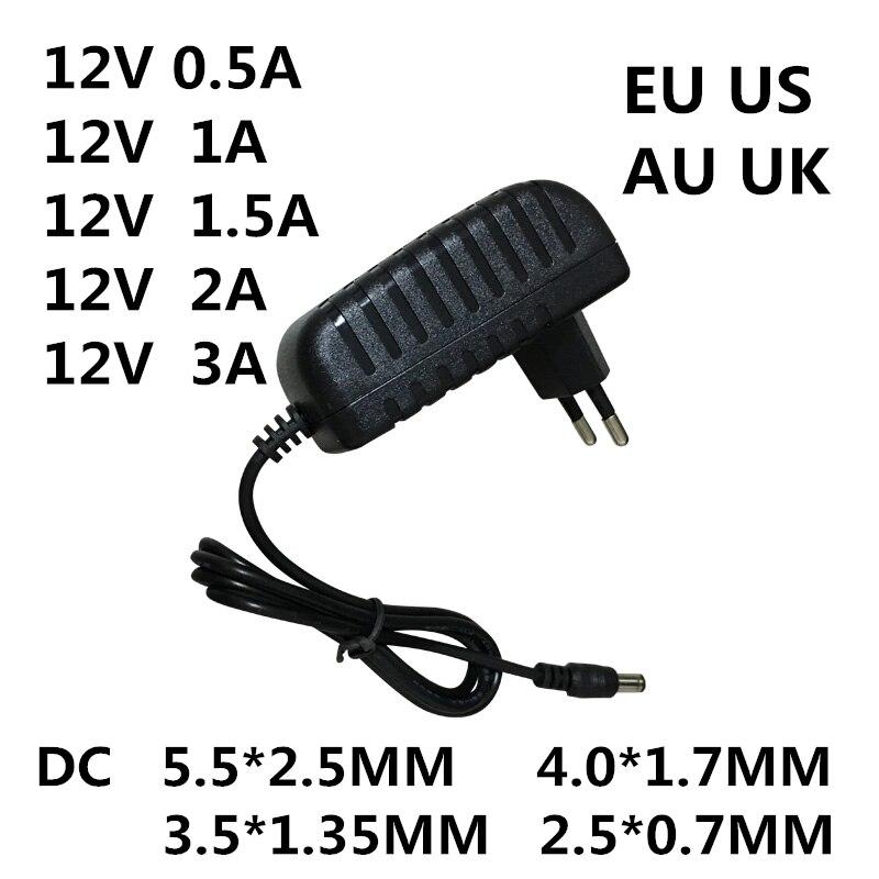 1 Pc Ac 100-240 V Dc 12 V 0.5a 1a 1.5a 2a 3a Convertisseur Adaptateur Secteur Chargeur Alimentation Pour Ampoules Led Evd Puissance Eu Us Au Uk Plug