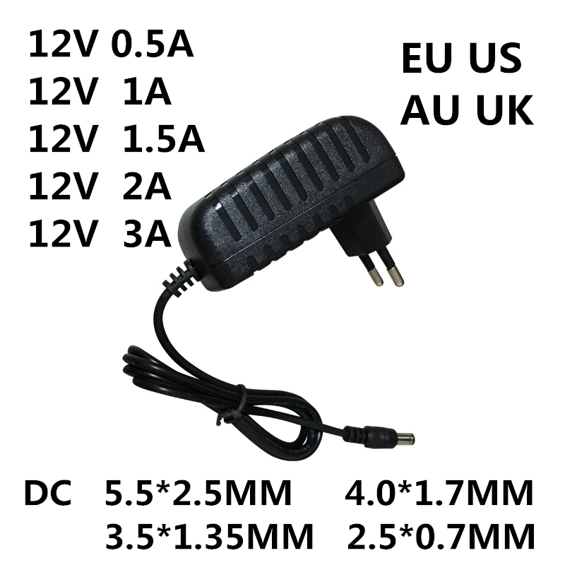 1PC AC 100-240V DC 12V 0.5A 1A 1.5A 2A 3A Converter Power Adapter Charger Power Supply 12 V Volt For LED Light Strips EVD CCTV